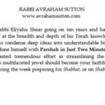 Approbation from Rabbi Avraham Sutton for Rabbi Eliyahu Shear's Book Parshah in Just Two Minutes!